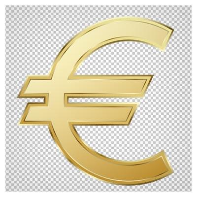 دانلود فایل ترانسپرنت و دوربری شده نماد یورو (واحد پول اروپا) طلایی با فرمت png