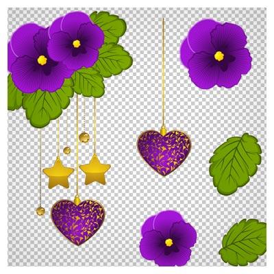دانلود فایل ترانسپرنت و دوربری شده گلهای بنفشه بنفش کارتونی با پسوند png