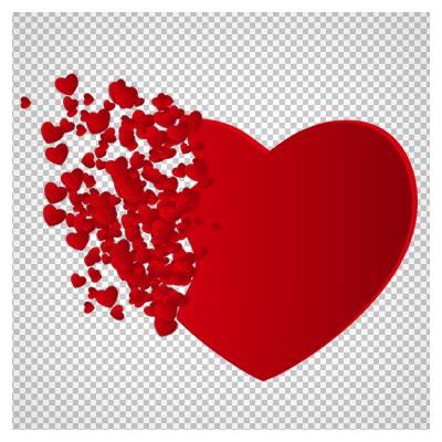دانلود فایل ترانسپرنت و دوربری شده قلب قرمز با تکه های کوچک  قلبی کارتونی با پسوند png