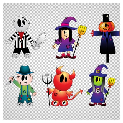 دانلود فایل ترانسپرنت مجموعه شش شخصیت و کاراکتر کارتونی ترسناک با پسوند png