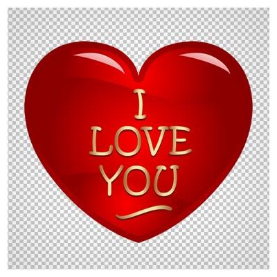 تصویر png و فاقد بکگرند قلبِ قرمزِ دوستت دارم (I Love You) کارتونی با کیفیت بالا
