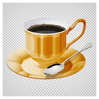 دانلود فایل ترانسپرنت و دوربری شده فنجان قهوه طلایی کارتونی با پسوند png