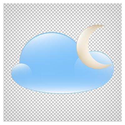 فایل png دوربری شده و فاقد بکگرند ابر و ماه کارتونی با کیفیت بالا