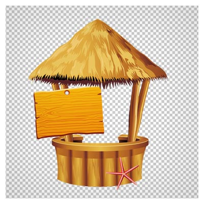 تصویر دوربری شده  آلاچیق چوبی و تابلو کارتونی با پسوند png