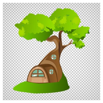 تصویر دوربری شده خانه درختی کارتونی به صورت فایل png با کیفیت بالا و قابل استفاده در بازی ها