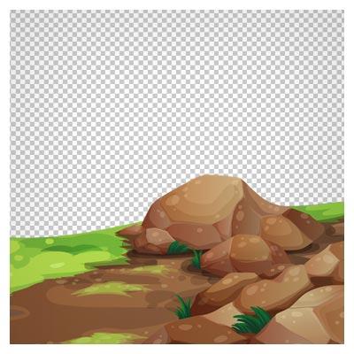 تصویر png صخره های سرسبز کارتونی با فرمت png مناسب برای طراحی صحنه های بازی