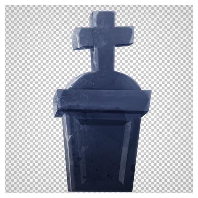 دانلود فایل ترانسپرنت و دوربری شده سنگ قبر کارتونی با نماد سلیب با پسوند png
