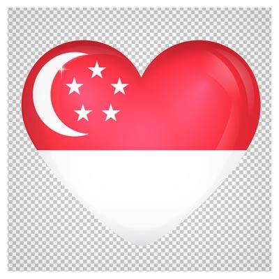 دانلود فایل ترانسپرنت و بدون پس زمینه پرچم سنگاپور قلبی با فرمت png