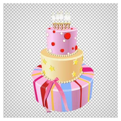 دانلود تصویر دوربری شده و فاقد بکگرند کیک تولد سه طبقه شمع دار کارتونی به صورت فایل png با کیفیت بالا