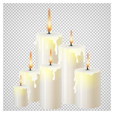 دانلود فایل ترانسپرنت و دوربری شده مجموعه شمع های روشن با فرمت png