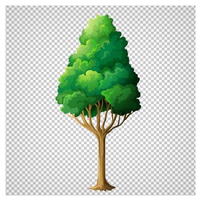 دانلود فایل دوربری شده و بدون پس زمینه درخت بلند کارتونی سبز با پسوند png