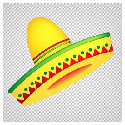 دانلود فایل ترانسپرنت و دوربری شده کلاه مکزیکی زرد کارتونی با پسوند png