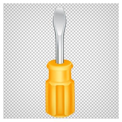 دانلود فایل ترانسپرنت و دوربری شده پیچگشتی دو سو دسته زرد با فرمت png