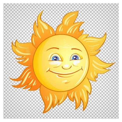 دانلود فایل ترانسپرنت و دوربری شده خورشید چهره دار کارتونی زرد با فرمت png