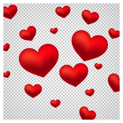 دانلود فایل دوربری شده و فاقد پس زمینه قلبهای سه بعدی قرمز با فرمت png