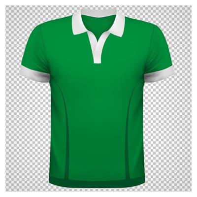 دانلود فایل ترانسپرنت و بدون پس زمینه تی شرت سبز یقه دار با فرمت png