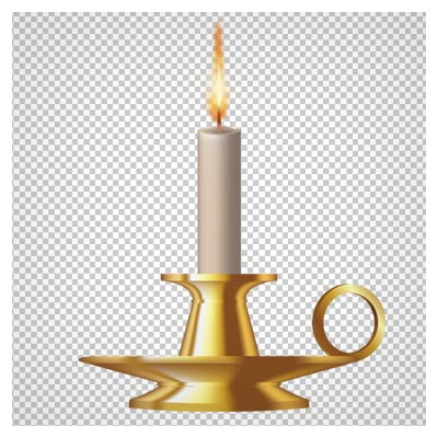 دانلود فایل ترانسپرنت و دوربری شده جا شمعی قدیمی طلایی با شمع روشن با فرمت png