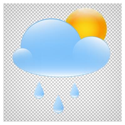 دانلود فایل دوربری شده و بدون پس زمینه ابر بارانی آبی رنگ و خورشید پنهان کارتونی با فرمت png