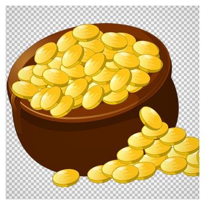 دانلود فایل ترانسپرنت و بدون پس زمینه ظرف پر از سکه طلای کارتونی با فرمت png