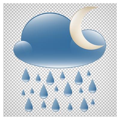 دانلود فایل دوربری شده و بدون پس زمینه ماه و ابر بارانی کارتونی با فرمت png