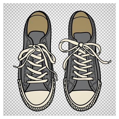 دانلود فایل دوربری شده و بدون پس زمینه کفش اسپرت خاکستری کارتونی با فرمت png