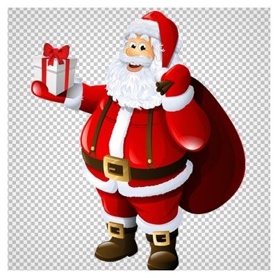 دانلود تصویر دوربری شده و فاقد بکگرند بابانوئل کادو به دست کارتونی به صورت فایل png با کیفیت بالا.