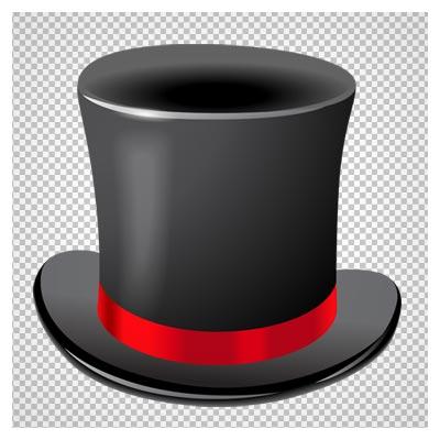 دانلود فایل ترانسپرنت و فاقد پس زمینه کلاه مشکی شعبده بازی دورقرمز با فرمت png