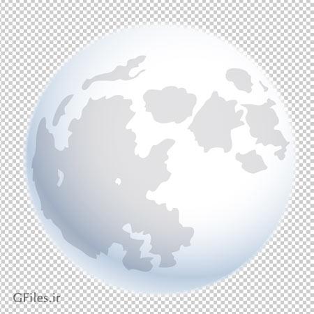 دانلود فایل دوربری شده و بدون پس زمینه ماه کامل سفید کارتونی با فرمت png