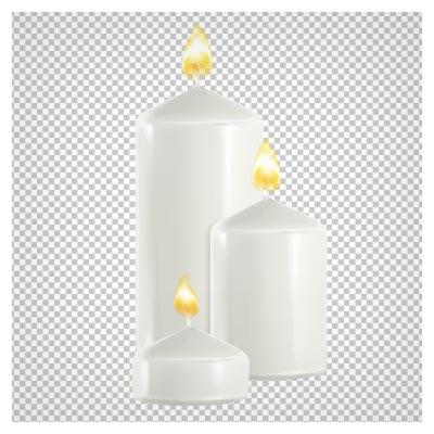 دانلود تصویر دوربری شده و فاقد بکگرند شمع های سفید روشن به صورت فایل png با کیفیت بالا