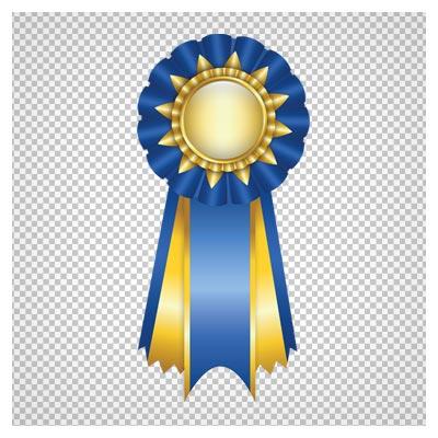 دانلود تصویر دوربری شده و فاقد بکگرند نشانه افتخار آبی طلایی کارتونی به صورت فایل png با کیفیت بالا