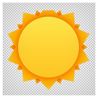 دانلود فایل دوربری شده و بدون پس زمینه خورشید لبه مثلثی کارتونی با پسوند png