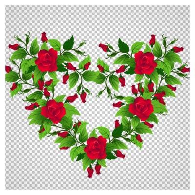 دانلود تصویر دوربری شده و بدون پس زمینه بوته گل کارتونی رزهای قرمز به شکل قلب با فرمت png