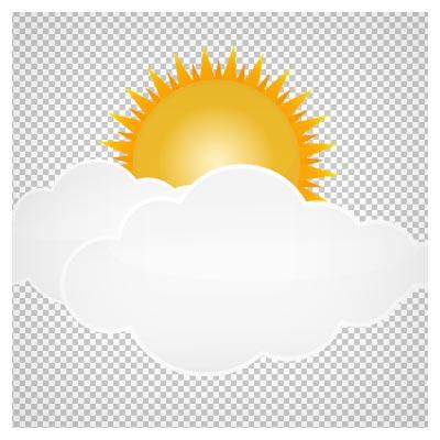 دانلود فایل دوربری شده و فاقد پس زمینه خورشید تابان پشت ابرهای سفید کارتونی با فرمت png