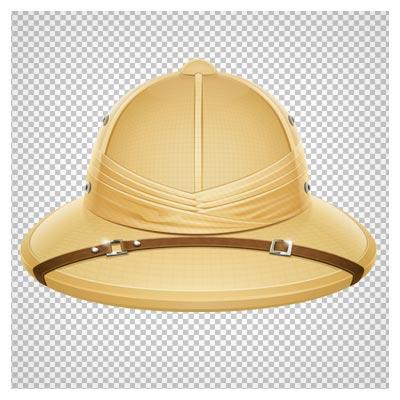 دانلود فایل دوربری شده و بدون پس زمینه کلاه آفتابگیر جهانگردی کرمی کارتونی با فرمت png