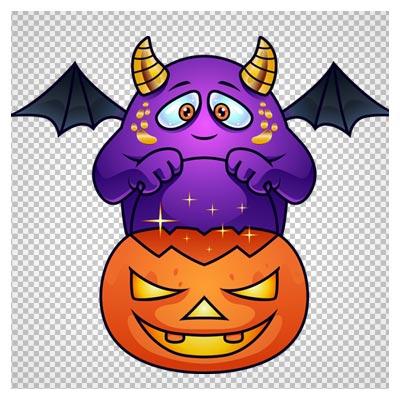 دانلود فایل دوربری شده و بدون پس زمینه هیولای بنفش هالووین کارتونی با فرمت png