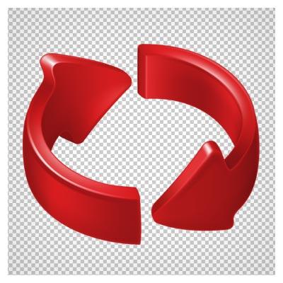 دانلود فایل دوربری شده و بدون پس زمینه فلش و پیکان های سه بعدی قرمز کارتونی (علامت ریفرش) با پسوند png