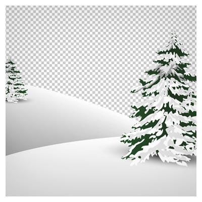 دانلود فایل دوربری شده و بدون پس زمینه تپه های برفی کارتونی با درختان کاج و پسوند png