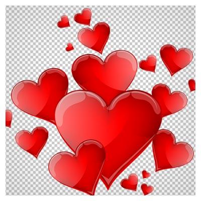 دانلود فایل دوربری شده و بدون پس زمینه قلب های قرمز براق کارتونی با پسوند png