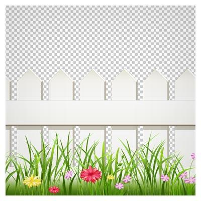 دانلود تصویر دوربری شده و فاقد بکگرندباغچه گل های رنگی با نرده های کارتونی به صورت فایل png با کیفیت بالا