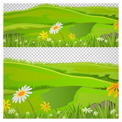 دانلود فایل دوربری شده و بدون پس زمینه دشت چمن و گل کارتونی با پسوند png
