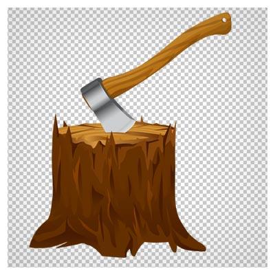 دانلود فایل دوربری شده و بدون پس زمینه تبر فرو رفته در درخت کارتونی با پسوند png