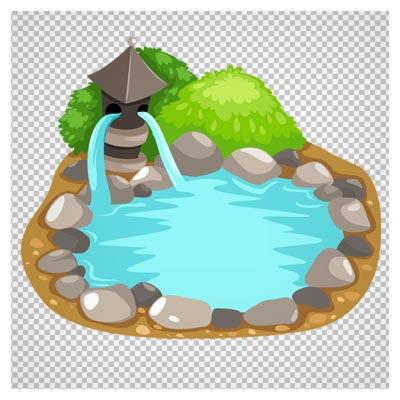 دانلود فایل دوربری شده و بدون پس زمینه برکه آب کارتونی با دورچین سنگ و پسوند png