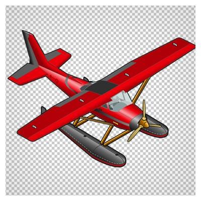 دانلود فایل دوربری شده و بدون پس زمینه هواپیمای تک موتوره ملخ داره قرمز کارتونی با پسوند png