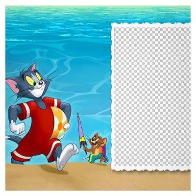 دانلود فایل دوربری شده و بدون پس زمینه قاب و فریم تام و جری در ساحل کارتونی با پسوند png