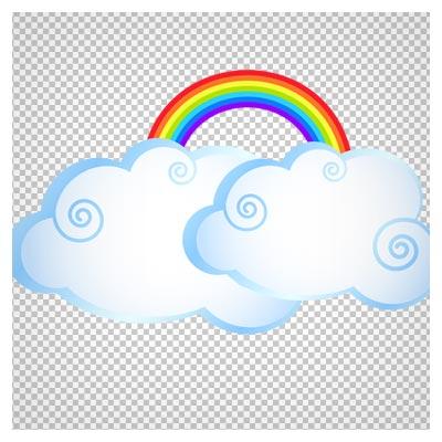 دانلود فایل بدون پس زمینه و دوربری شده ابر و رنگین کمان با فرمت png