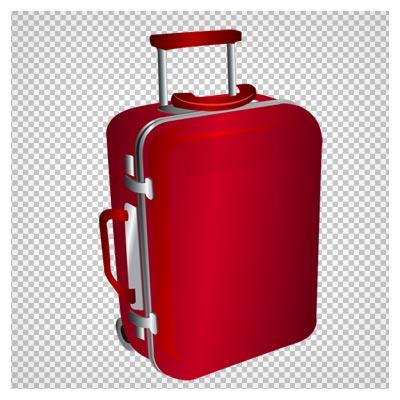 فایل دوربری شده چمدان مسافرتی قرمز چرخدار با فرمت png