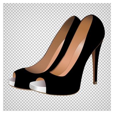 دانلود فایل بدون پس زمینه کفش زنانه پاشنه بلند مشکی جلو باز با فرمت png