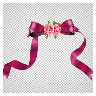 فایل بدون پس زمینه پاپیون صورتی گلدار با فرمت png