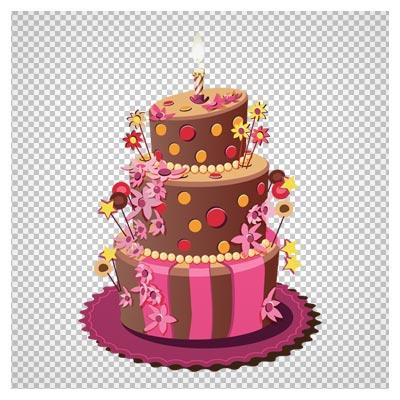 دانلود کیک جشن سه طبقه کارتونی بصورت فایل دوربری شده و فاقد بکگرند