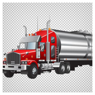 دانلود کامیون حمل گاز قرمز رنگ بصورت فایل PNG دوربری شده و بدون پس زمینه